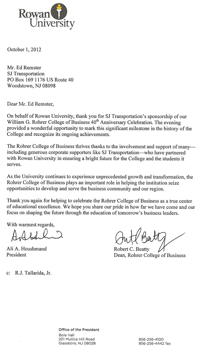 Rowan University thank you letter from October 2012