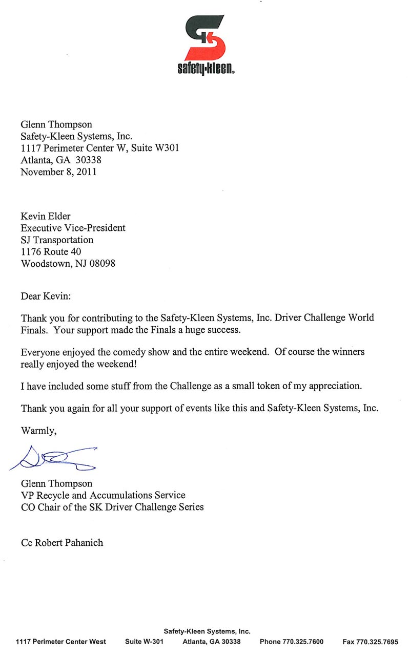 SafetyKleensWorldFinalsFoundation - Charity Thank You Letters