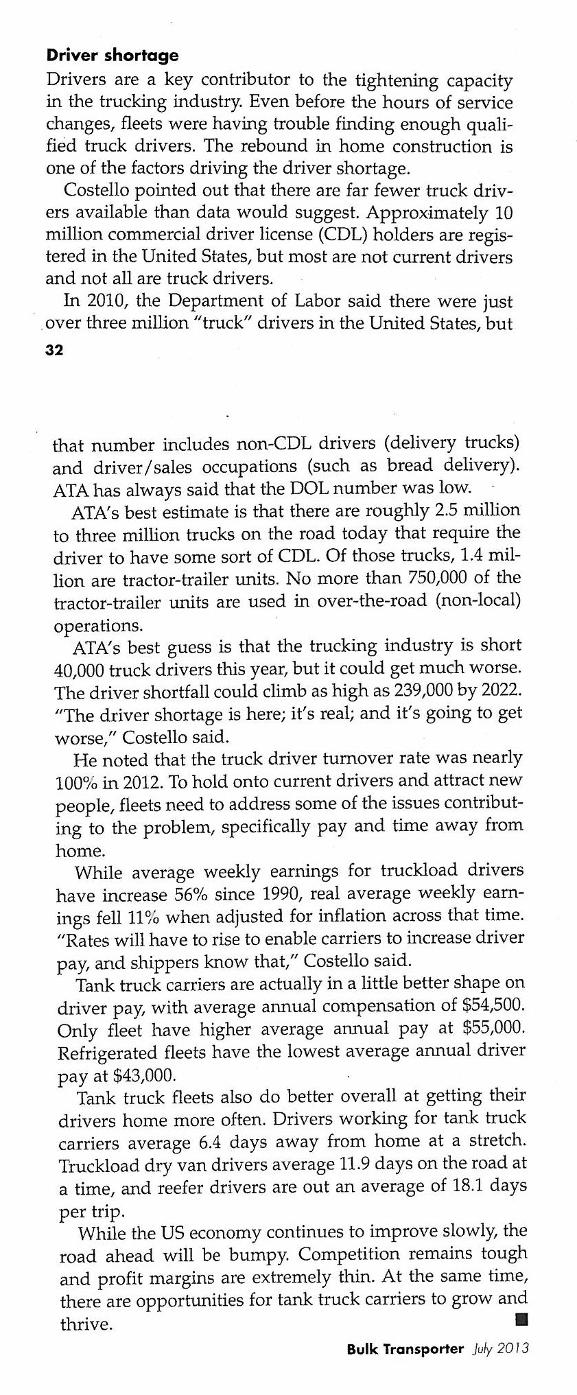 Driver shortage newspaper clipping