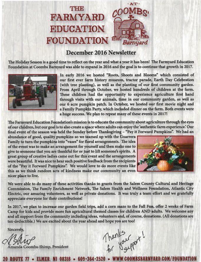 Farmyard Education Foundation newsletter December 2016