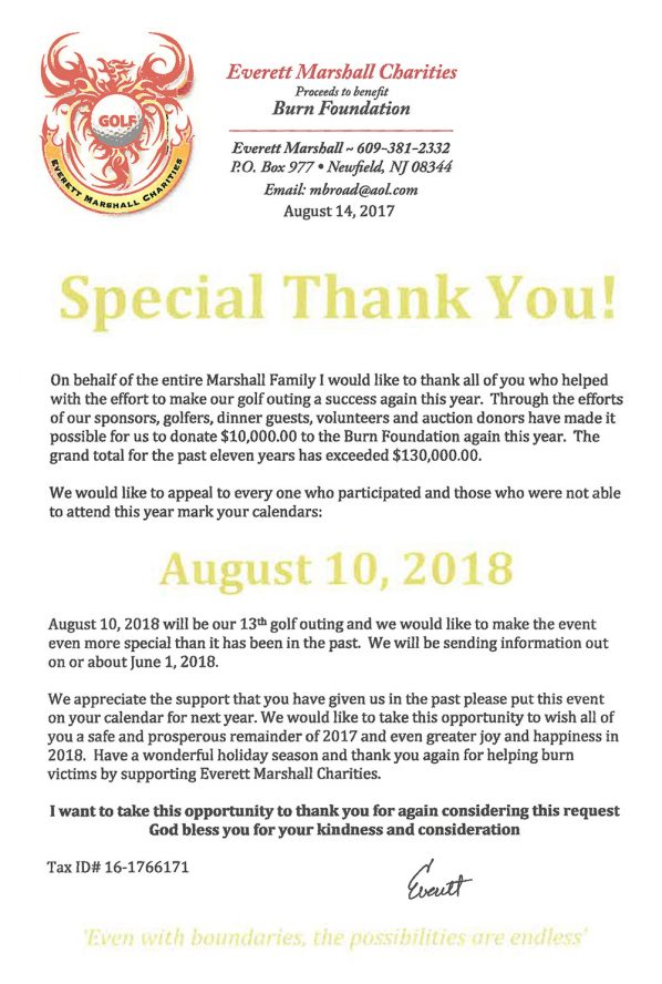 September 2018 Thank you from Everett Marshall Charities