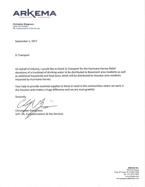 Arkema appreciate for Hurricane Harvey relief