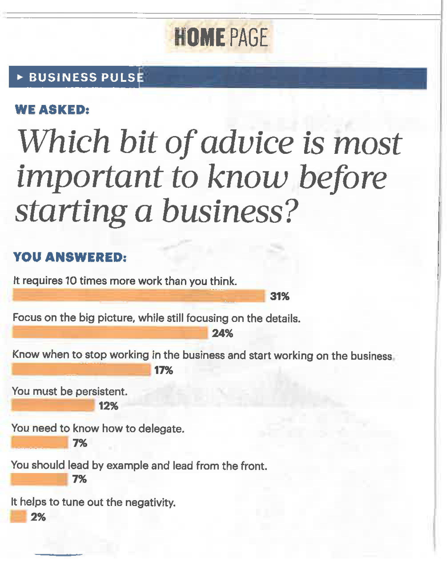 Survey: Advice before starting a business