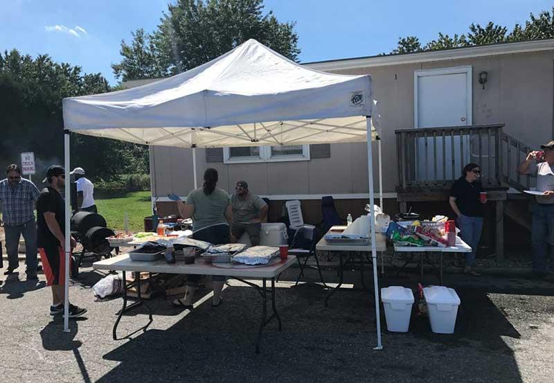 Driver appreciation week tent set up
