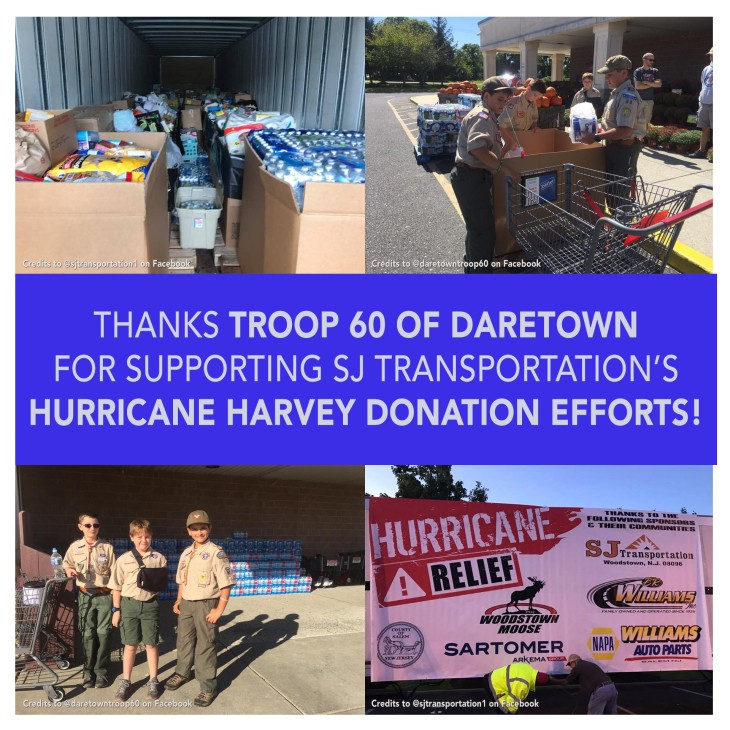 Thanks to Troop 60 for Hurricane Harvey donations