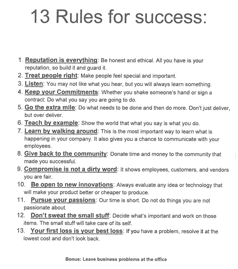 13 Rules for Success
