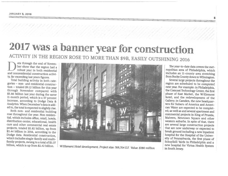 2017 was banner year for construction
