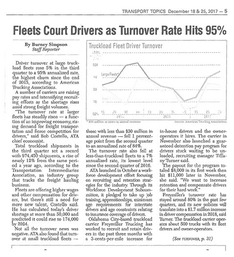 Fleets Court Drivers as Turnover Rate Hits 95%