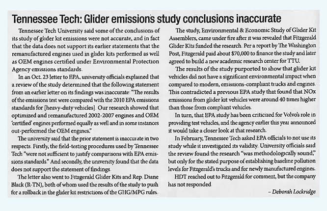 Tennessee - Tennessee Tech: Glider Emissions Study Conclusions Inaccurate