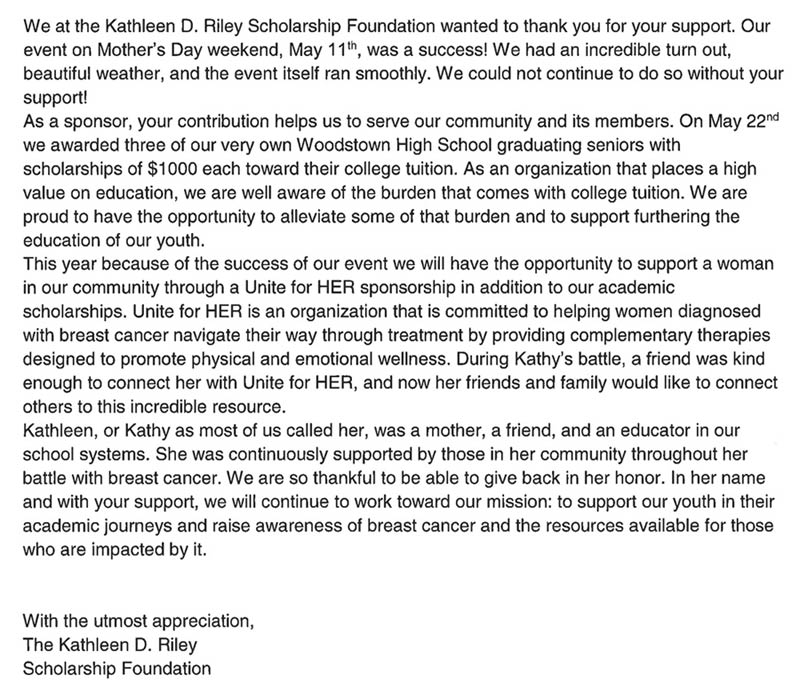 Thank you from Kathleen D Riley Scholarship Foundation