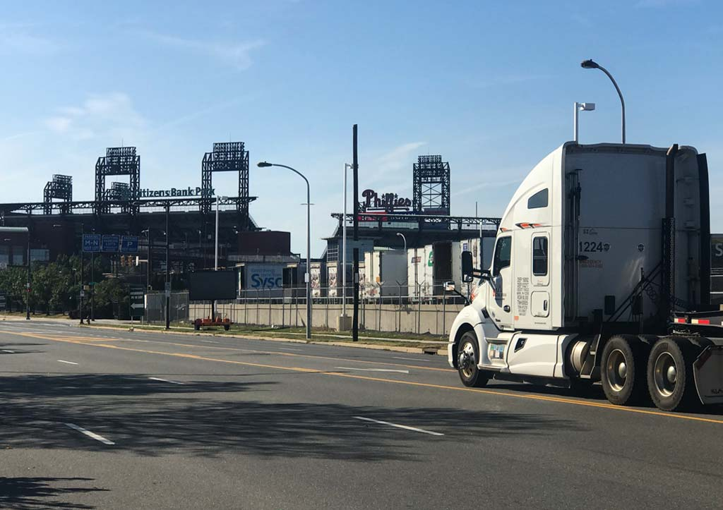 Truck in front of Phillies and Citizens Bank Park stadiums in Philadelphia