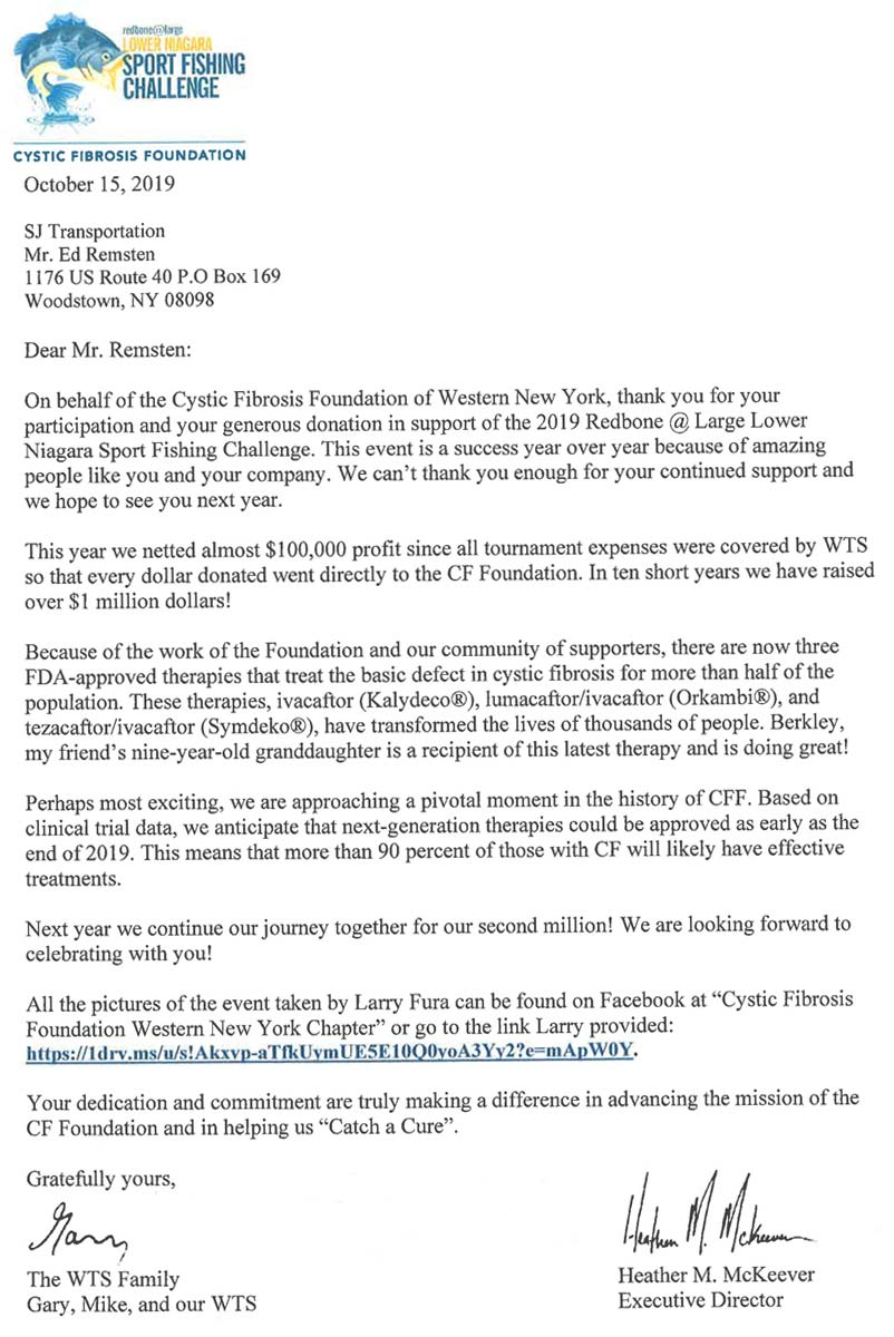 Thank you letter from the Cystic Fibrosis Foundation in October 2019