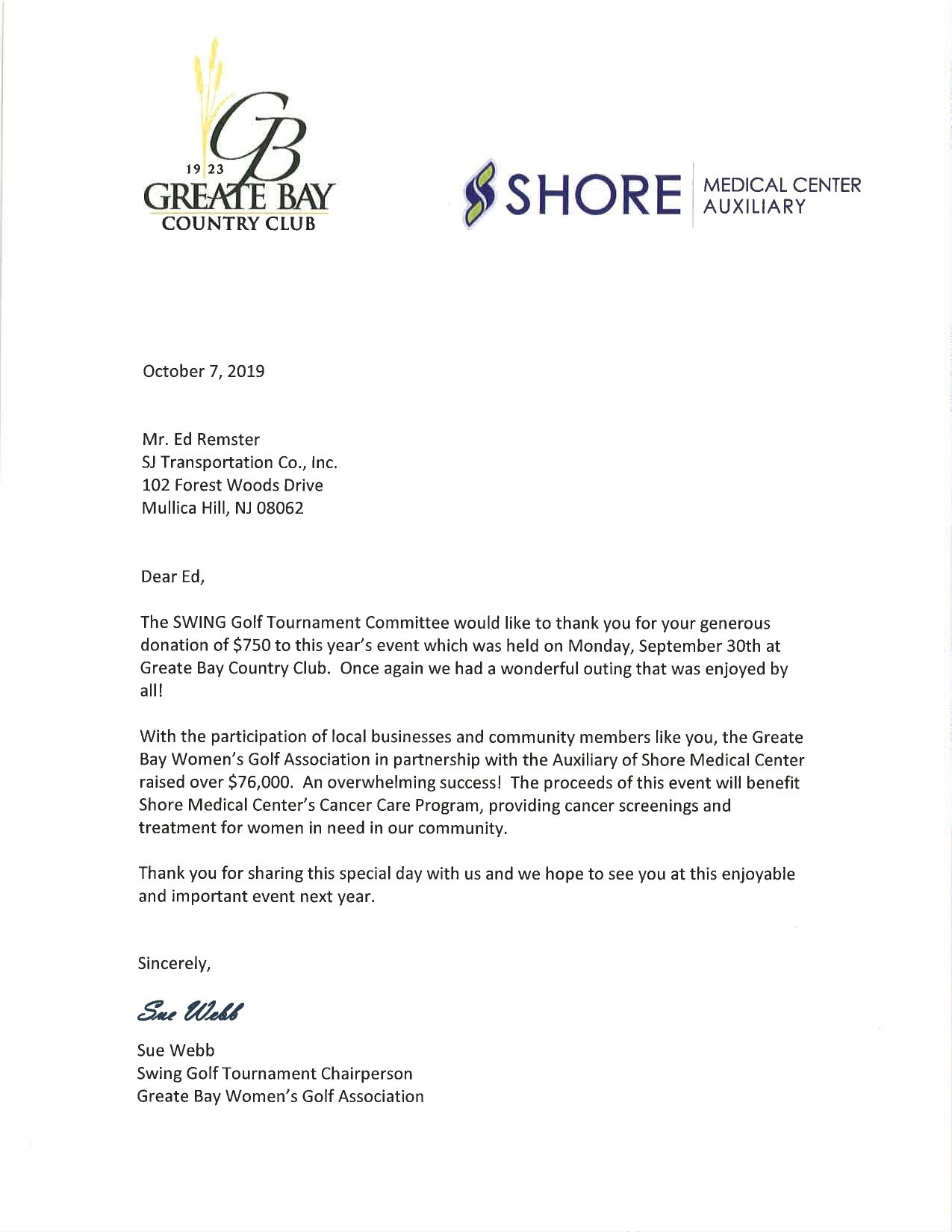 Thank You From Greater Bay Women's Golf Association