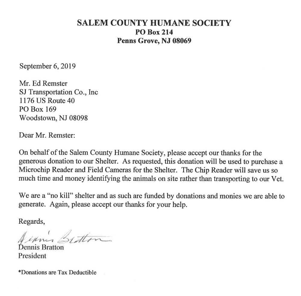 Thank you from the Salem County Human Society