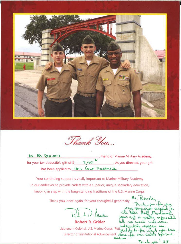 Thank you from Marine Military Academy