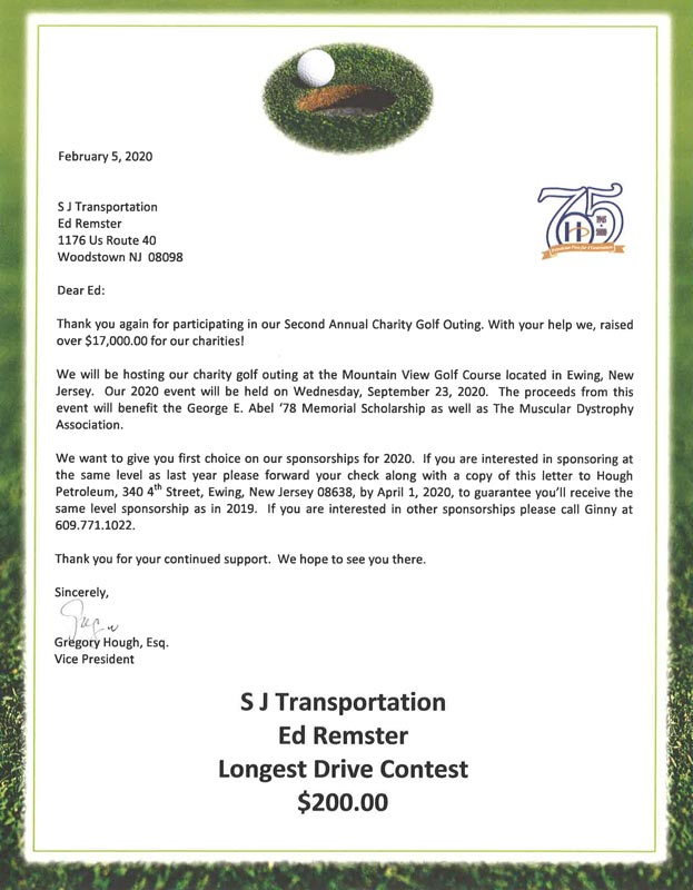Golfing donation thank you from February 2020